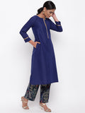 Blue Kurta And Foil Pant Set