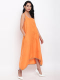 Linen Cotton Orange Tier Dress