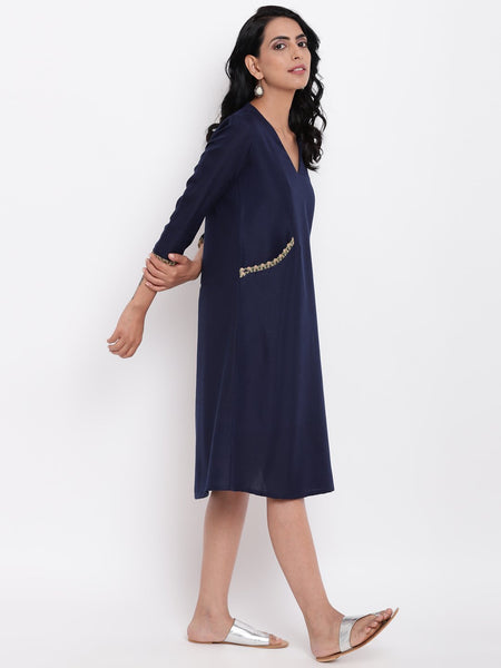Linen Cotton Blue Jute Pocket Dress