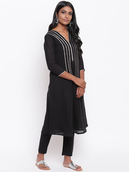 Black Gota Kurta Set