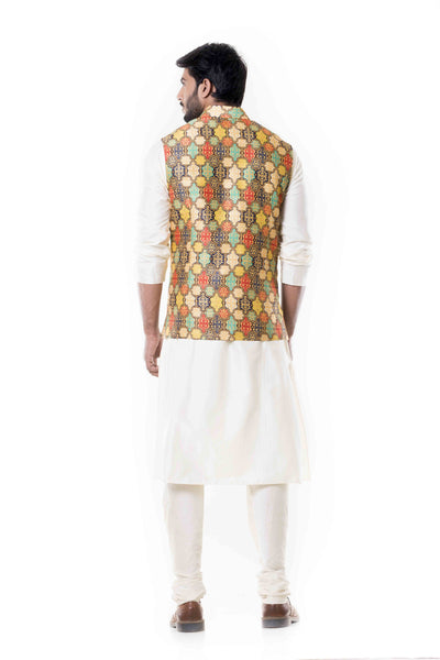 Anju Agarwal Cream Kurta With Printed Waist Coat