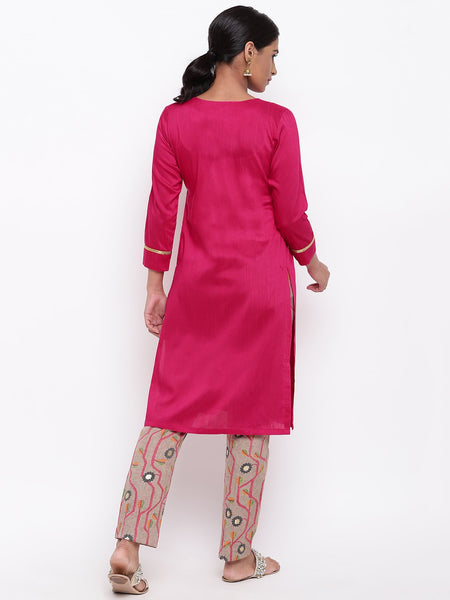 Pink Kurta And Stem Foil Pant Set