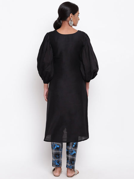 Black Puff Sleeve Kurta And Check Pant Set