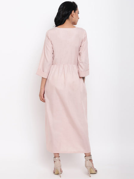 Linen Cotton Rose Long Dress