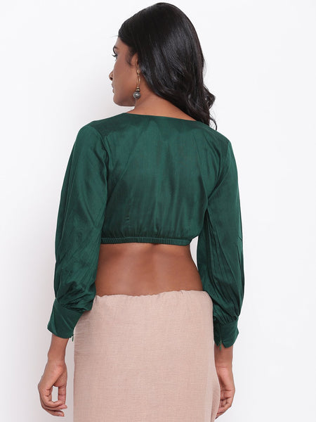 Green Gathered Sleeve Top