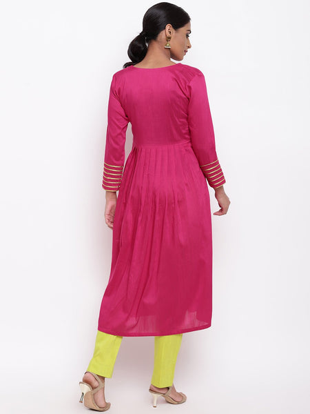 Pink Embellished Sleeve Kurta And Pant Set