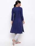 Blue Slit Gathers Kurta And Pant Set
