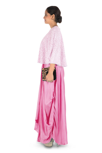 Anju Agarwal Hand Embroidered Pink Drape Skirt & Cape Set