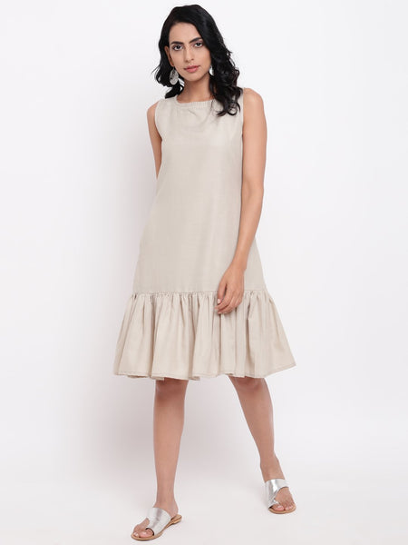 Linen Cotton Grey Frill Dress
