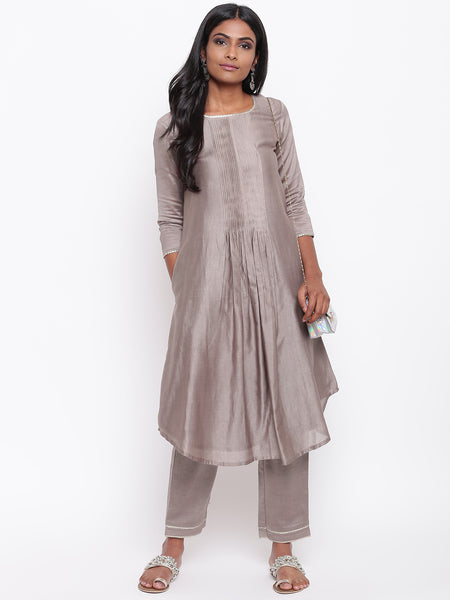 Brown Gota Pleats Kurta Set