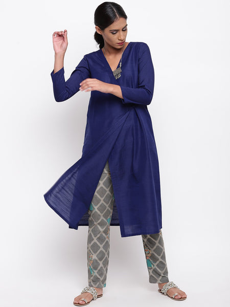 Blue Angrakha And Grid Foil Pant Set