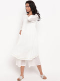 White Cotton Sleeve Loop Kurta