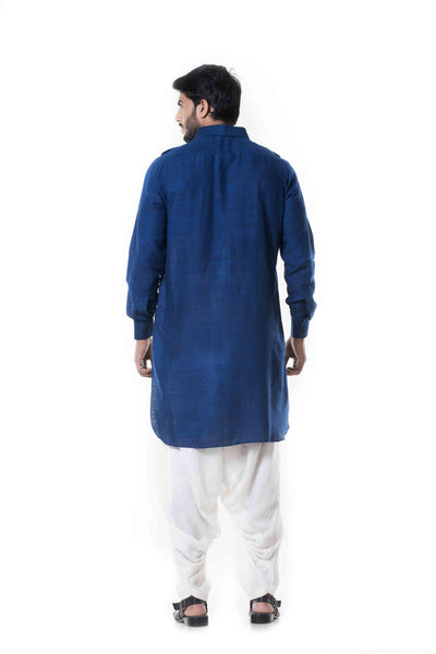 Anju Agarwal Blue Linen Pathani Set