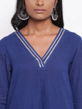 Blue Gota Front Kurta Set