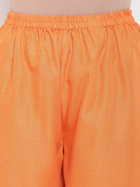 Linen Cotton Pink Pin-Tucks Kurta Orange Pant