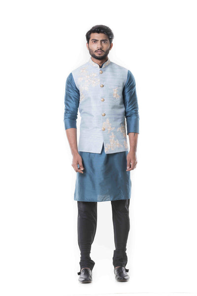 Anju Agarwal Blue Kurta With Waist Coat