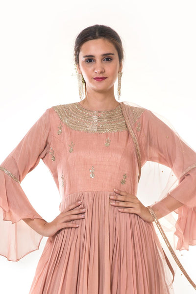 Rose Gold Hand Embroidered Double Layer Gown With Dupatta
