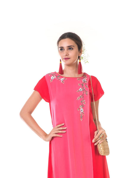 Rose Embroidered Red & Pink Layered Asymmetrical Tunic