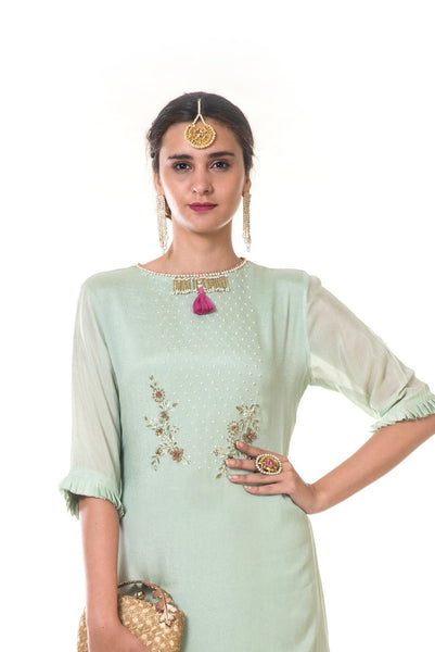 Light Green Hand Embroidered Double Layer Long Tunic with a Tasseled Neckline