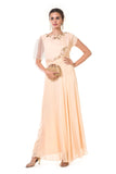 Beige  Hand Embroidered One Side Attached Cape Gown