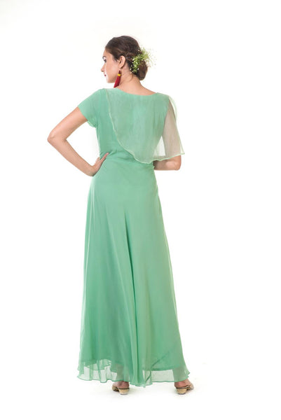 Green Hand Embroidered One Side Attached Cape Gown