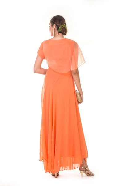 Orange  Hand Embroidered One Side Attached Cape Gown
