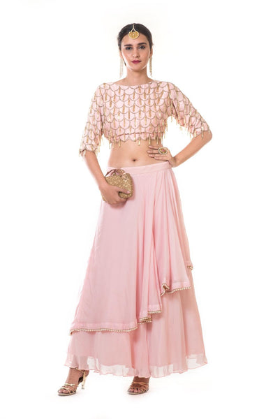 Pink Heavy Scallop Embroidered Blouse with Double Layer Skirt