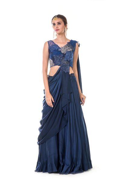 Blue Hand Embroidered Leaf Work Lehenga Set with an Attached Dupatta
