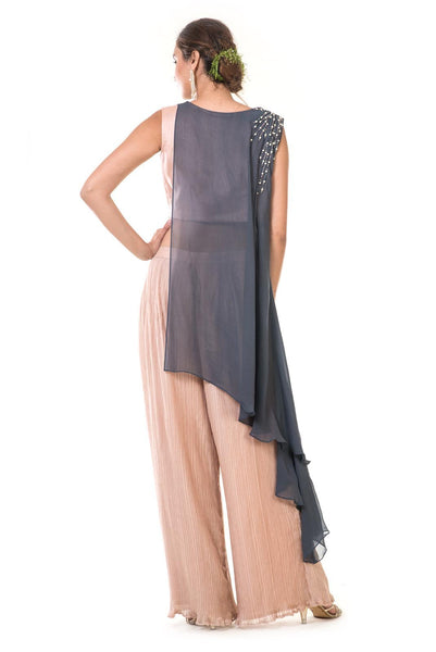 Hand Embroidered Grey & Peach Asymmetrical Top with Crush Pleated Pants