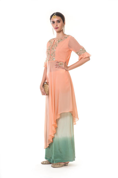 Peach Hnad Embroidered High Low Top with Pleated Sleeves & Shaded Palazzo