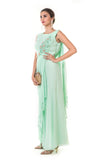 Aqua Green Hand Embroidered Pleated Draped Gown With Tassels