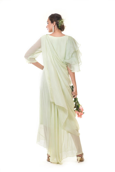 Mint Green Floral Hand Embroidered Draped Gown With Ruffle Sleeves