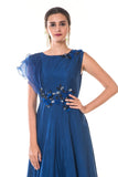 Blue Floral Hand  Embroidered Gown with One Side Ruffles