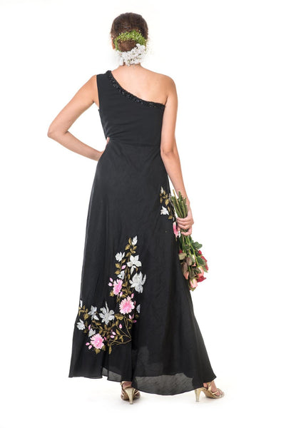 Black Floral Embroidered One Shoulder Gown