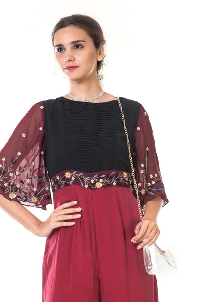 Maroon Hand Embroidered Bell Sleeves Jumpsuit with Black Pleated Yoke
