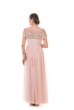 Peachish Pink Cold Shoulder Chain Embroidered Gown