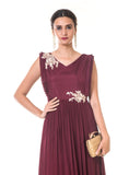 Maroon Hand Embroidered Frill Yoke Pleated Gown