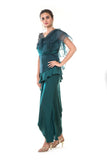 Green One Side Frill Sleeve Metal Sequins Peplum Top with a Draped Skirt