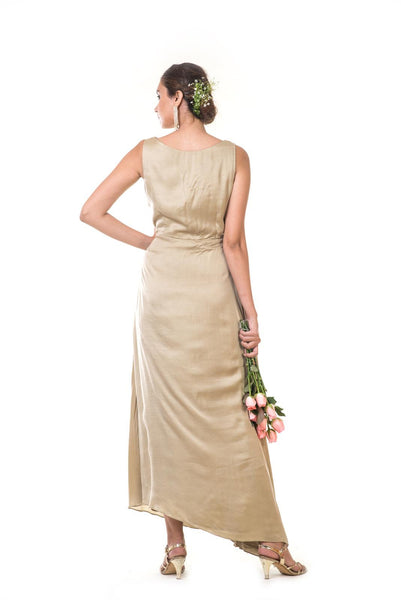 Golden Rose Floral Embroidered Draped Gown