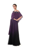 Plum Hand Embroidered One Sided Cape Tie-Knot Jumpsuit with Shaded Black & Plum Bottom