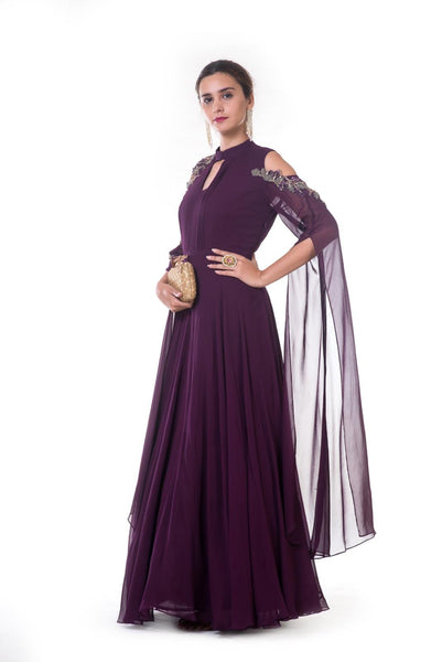 Plum Hand Embroidered Gown with Long Slit Sleeves