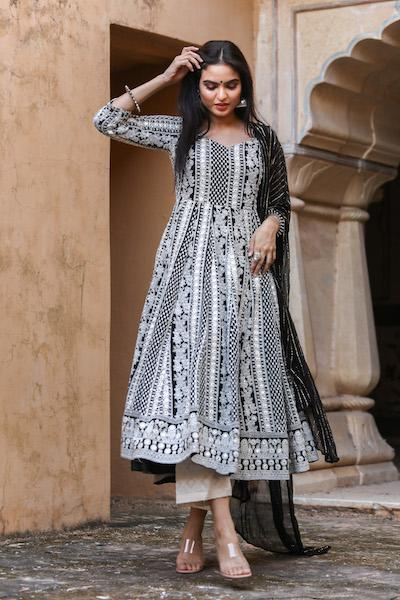 Black Nisa Anarkali set