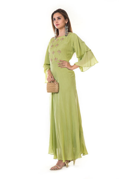 Parrot Green Hand Embroidered Double Layel Bell Sleeves Gown