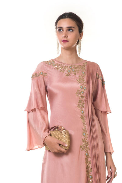 Hand Embroidered Rose Gold Double Layer Bell Sleeves Gown