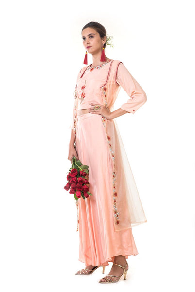 Peach Floral Embroidered Cape, Blouse & Skirt Set