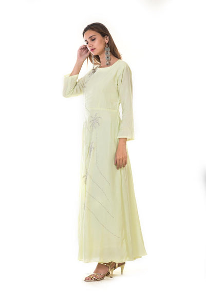 Pastel Green Hand Embroidered Silver work Gown