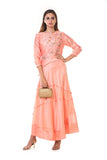 Light Peach Hand Embroidered Asymmetrical Pleated Gown