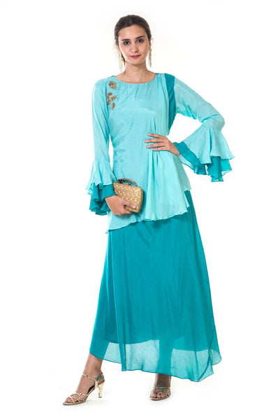 Blue Hand Embroidered Double Layer Gown with Bell Sleeves