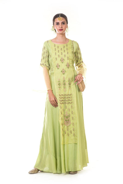 Green Hand Embroidered Zardosi Layered Gown