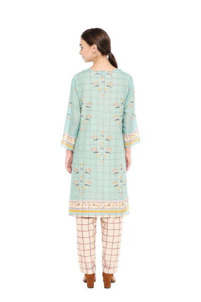 Beige & Blue Kurta Set